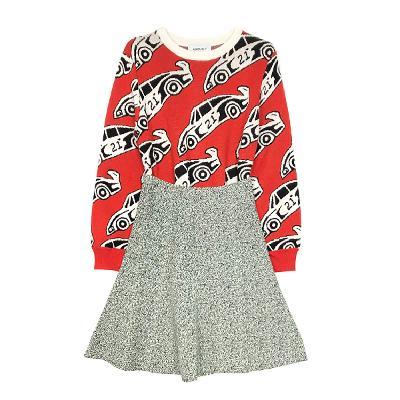 printing knit red & bokashi slim flare skirt